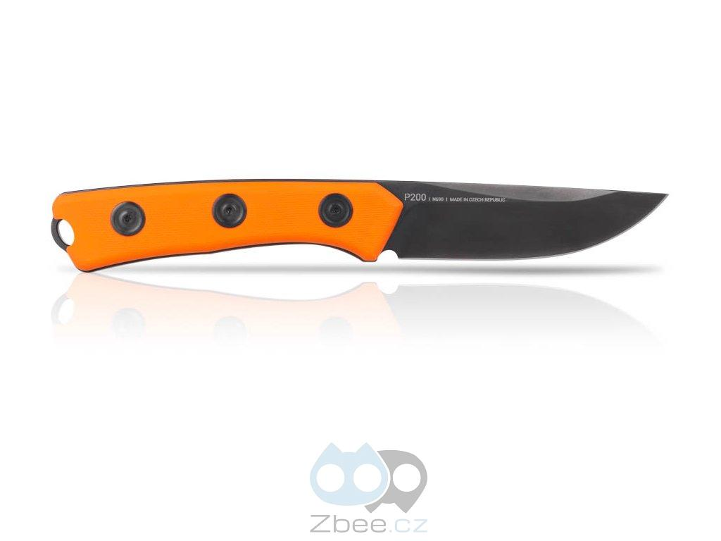 ANV Knives P200 Mk.II - DLC BLACK, PLAIN EDGE, ORANGE GRIP, KYDEX SHEATH BLACK